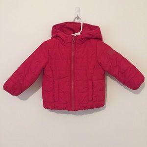 Gap primaloft hot pink puffer jacket 12-18 months